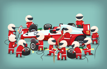 Fototapeta Poster with pit stop workers staying near the racing car, changing tires, refueling and changing oil in the bolide. Vector illustration