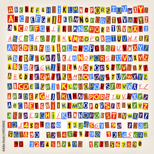 Cutout letters numbers and symbols from newspapers and