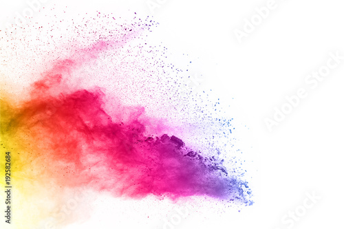 Foto auf AluDibond Formen Colorful powder explosion on white background.