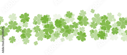 Tableau sur Toile Seamless border with fourleaf clover and sparkle