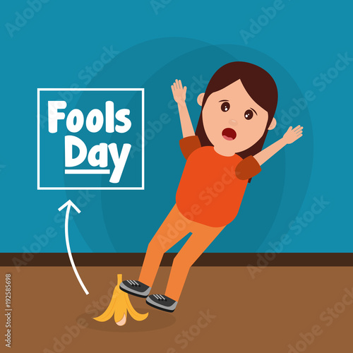 woman slips with banana peel fools day prank vector illustration Canvas-taulu