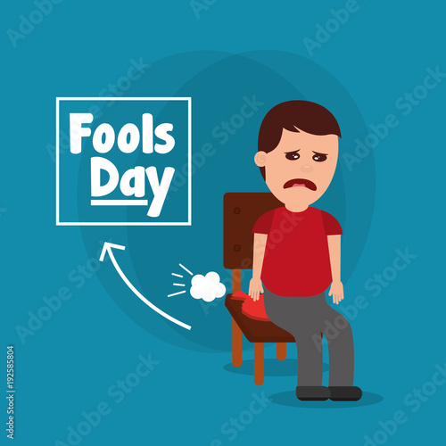 Valokuvatapetti sad man sitting in chair with whoopee cushion fools day vector illustration