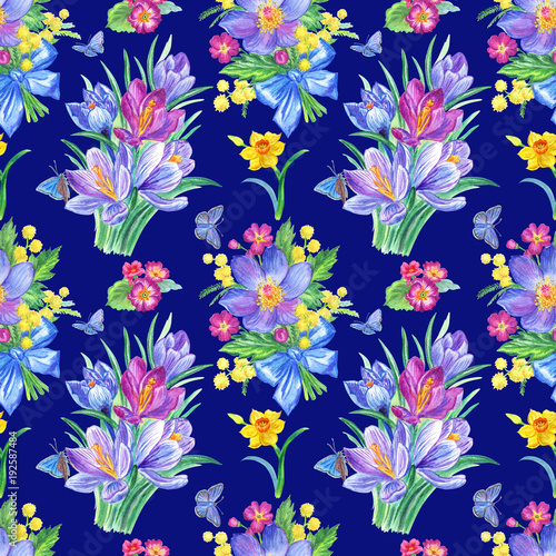 Seamless Pattern From Spring Flowers And Butterflies On A Blue