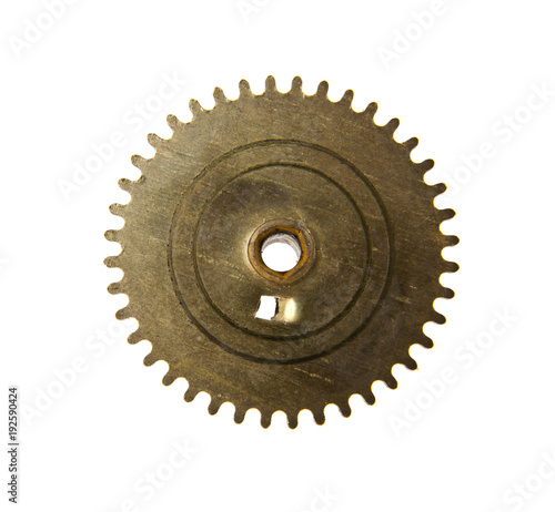 gears from old clock isolated on white background - Buy this