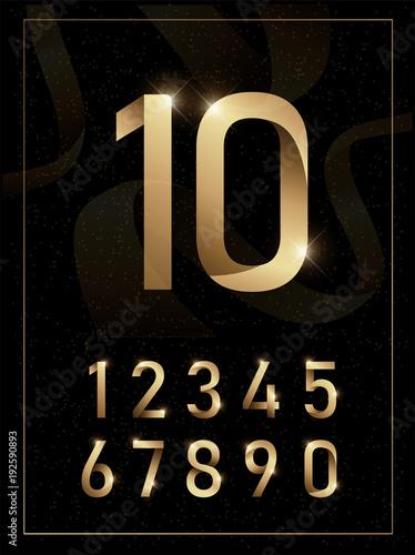 Fotografiet Elegant golden metal numbers