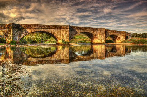 Obraz HDR view of grassington bridge and the river wharfe in the Yorkshire dales uk - fototapety do salonu