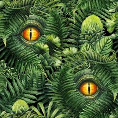FototapetaWatercolor dinosaur eye and prehistoric plants