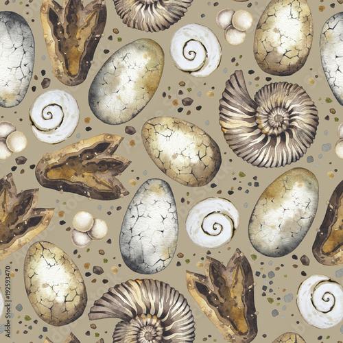 Cotton fabric Watercolor prehistoric collection