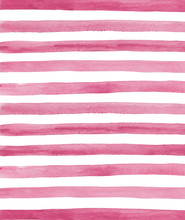 Watercolor Pink And White Stripes Background. Hand Painted Lines