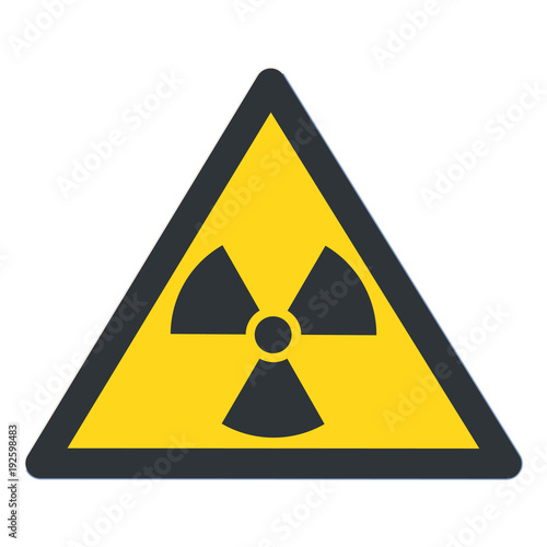Radioactive contamination in the triangle sign flat design vector illustration Fototapeta