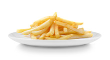 French Fries In Plate Isolated...