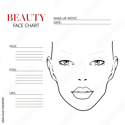 Beauty face chart. Beautiful woman with open eyes. Face ...