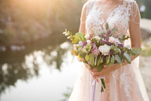 The Bride In A Beige Wedding D...