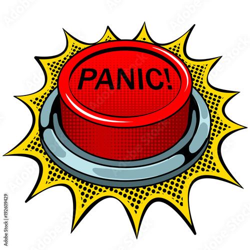 Fotografía  Panic red button pop art vector illustration