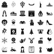 Folk festival icons set, simple style