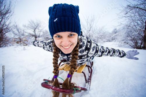 Christmas Vacation Sled.Crazy Woman Enjoy A Sleigh Ride Woman Sledding Funny Oman
