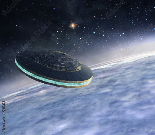 Foto auf AluDibond UFO Ufo in orbit