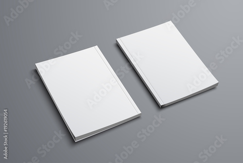 Photo  realistic mockup of two brochures with front and back covers.