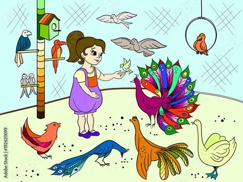 Childrens cartoon color the contact birds zoo. Bird picture book. Ornithology for the girl