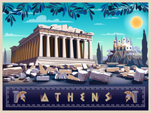 Acropolis Hill In Athens. Handmade Drawing Vector Illustration. Retro Style Poster.