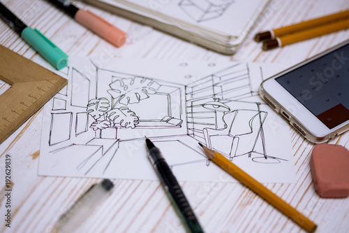 Fotobehang Tuin designer makes a sketch of the interior