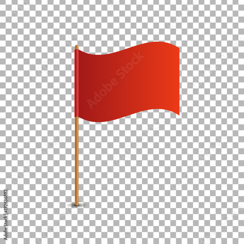 Vector realistic isolated red flag for decoration and covering on the transparent background. Concept of pointer, tag and important sign. Fototapete