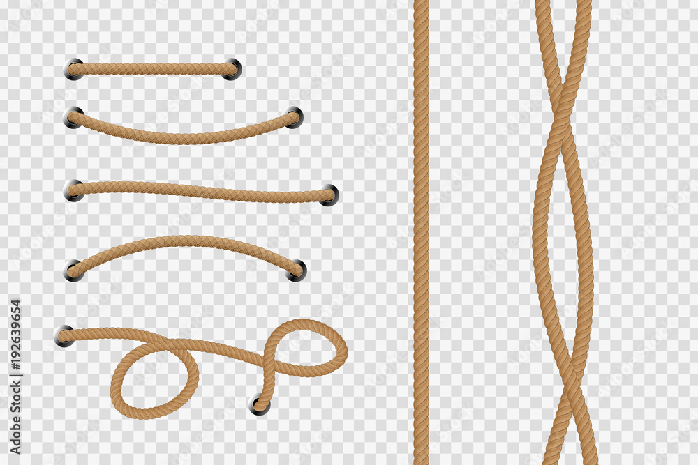 Fototapety, obrazy: Vector realistic isolated rope for decoration and covering on the transparent background.