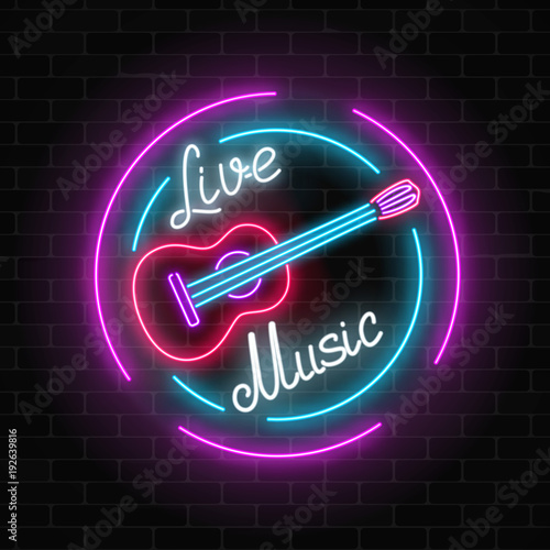 Neon sign of bar with live music on a brick wall background. Advertising glowing signboard with classic guitar symbol.