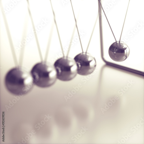 Energy Conservation Momentum. 3D illustration of Newton's cradle, concept of conservation of momentum and energy.