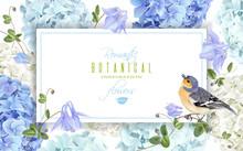 Hydrangea Bird Banner Blue