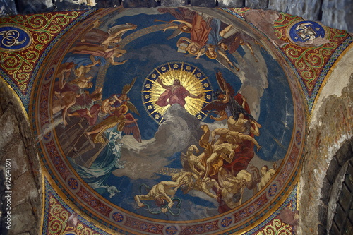 Fotografie, Obraz  Fresco Art Work in Kerepesi Cemetery Budapest Hungary