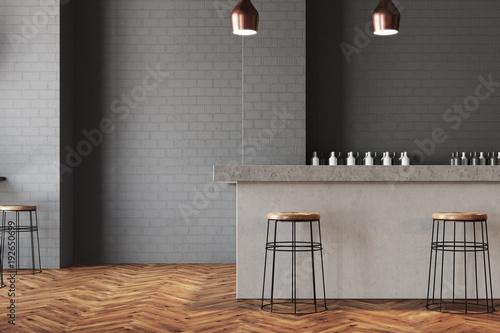 Obraz Gray wall bar and cafe interior - fototapety do salonu