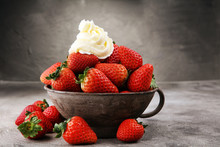 Fresh Strawberries And Whipped...