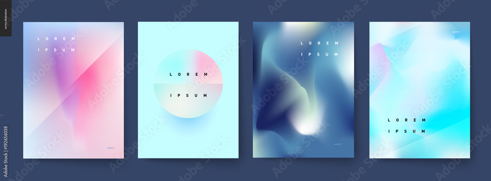 Fototapeta Abstract background posters set - wavy liquid shapes for branding style, covers and backdrops