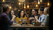 canvas print picture - Diverse Group of Young People Have Fun in Bar, Talking, Telling Stories and Jokes. They Drink Various Drinks. They're in the Stylish Hipster Establishment.