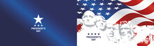 Presidents Day Rushmore USA Flag Landscape Blue Background Greeting Card