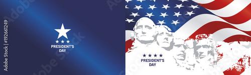 Fotografia  Presidents Day Rushmore USA flag landscape blue background greeting card