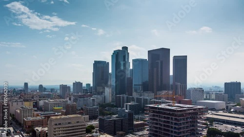 Etiqueta engomada - Zoom in on downtown Los Angeles. Aerial view of day city. 4K UHD timalapse