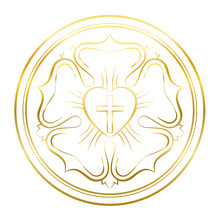 Luther Rose Symbol. Golden Ill...