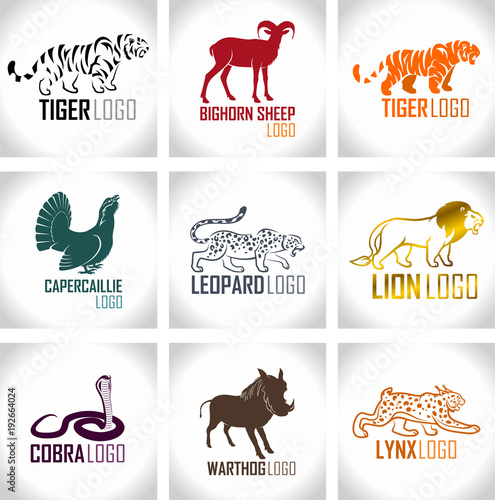 Photo  vector set of animals logo emblems labels