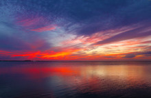 Sunset Off South Padre Island Looking Toward The Mainland
