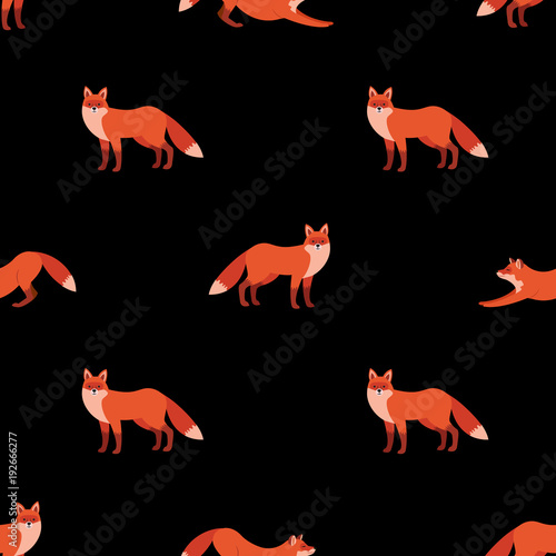 Cute Seamless Pattern With Red Foxes On Black Background Vector Illustration For Decoration For Textile Notebooks Wallpapers Etc Buy This Stock Vector And Explore Similar Vectors At Adobe Stock Adobe Stock