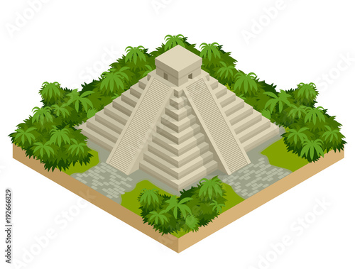 Cuadros en Lienzo Isometric Mayan pyramid isolated on white