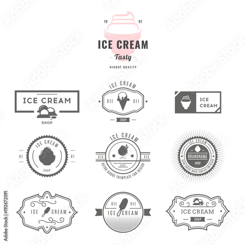 Fototapeta Set of ice-cream shop labels, logotypes and design elements. Vintage collection of different ice cream elements. Cold desserts and ice cream objects. Vector elements for design. Ice cream silhouettes. obraz na płótnie