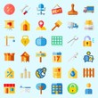 Icons about Real Assets with lab, rent, percentage, pincers, for rent and seventeen