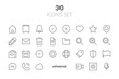 Leinwanddruck Bild - Simple Set of Basic Interface Related Color Vector Line Icons. Contains such Icons as Contact, Info, Alert, Notification, Settings, User Profile and more.
