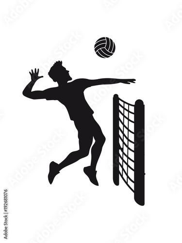 cool netzt mann junge sprung aufschlag silhouette schatten umriss cool Volleybal плакат