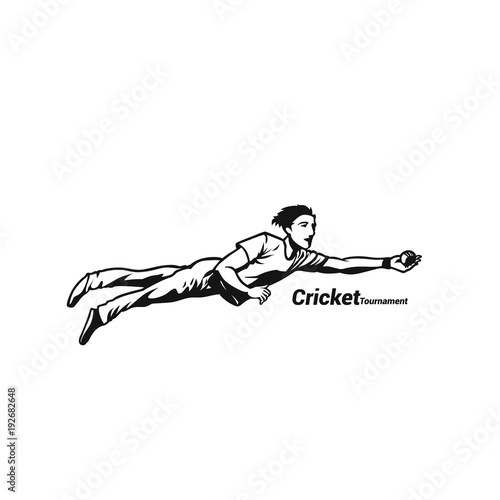 Boy diving for the cricketball catch vector illustration. Poster