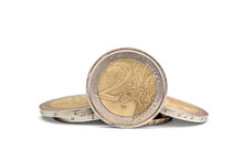 Two Euro Coin With Heap Of Eur...
