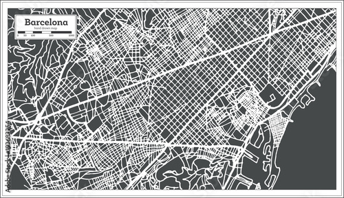 Photo Barcelona Spain City Map in Retro Style. Outline Map.